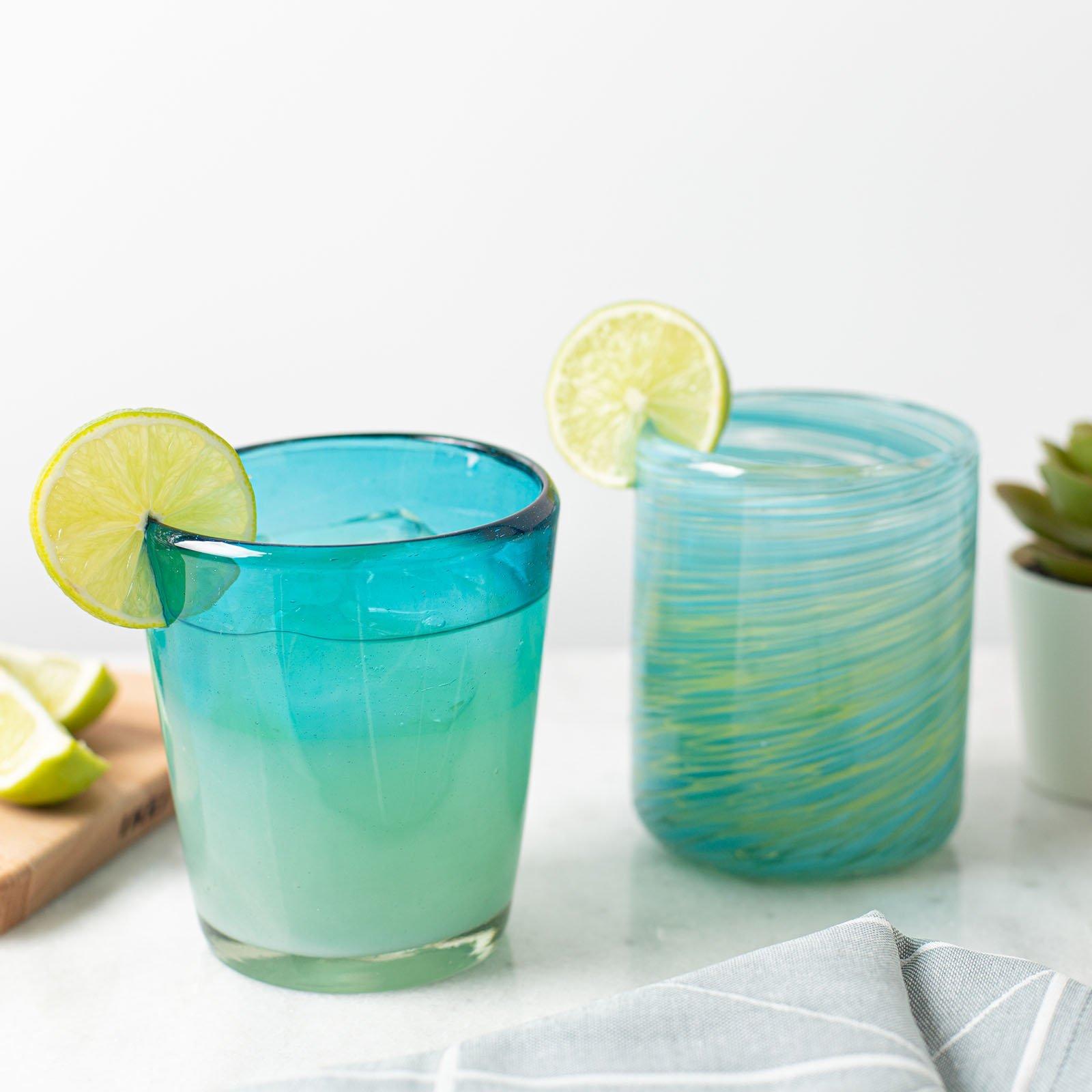 Mexican Handblown Aqua Glasses Cocina The Shop
