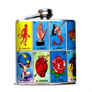 Loteria Cards Hip Flask