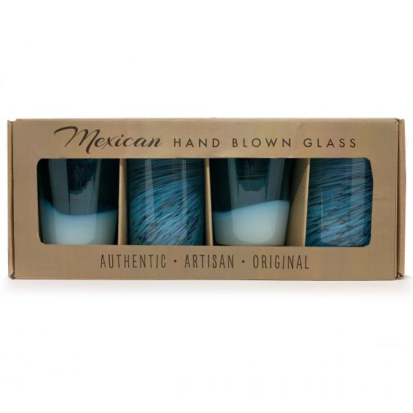 Mexican Handblown Glasses – Aqua 1