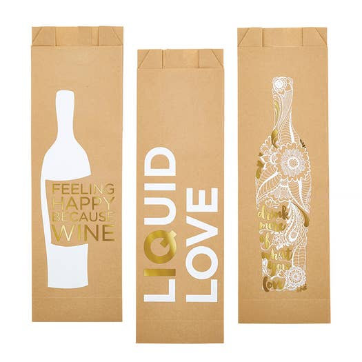 Paper Wine Bags -Assorted 6 Pack